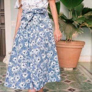 Veronica Beard Caralina Floral Print Midi Skirt